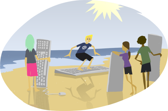NetzpertInnen zeigen MitschülerInnen, wie richtiges Surfen im Internet geht.
